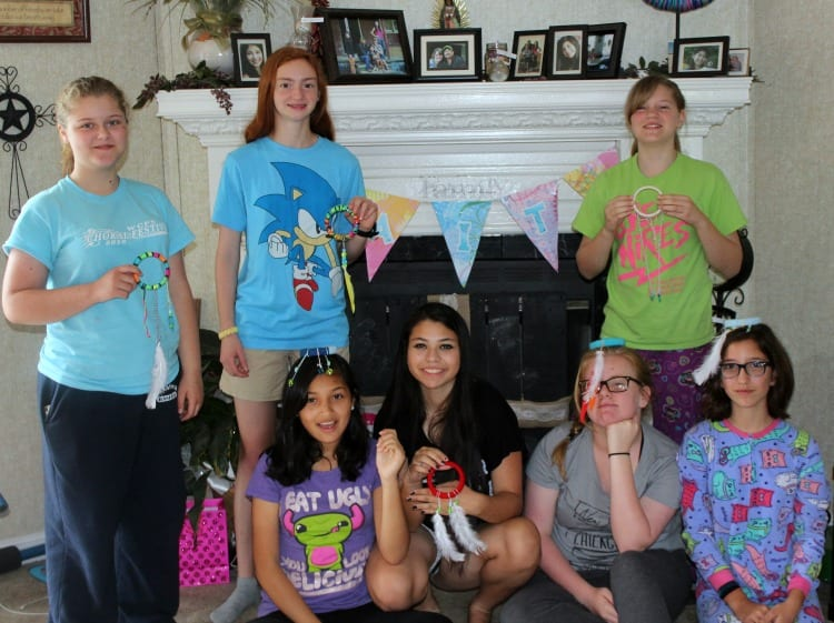 girls with finished dream catchers