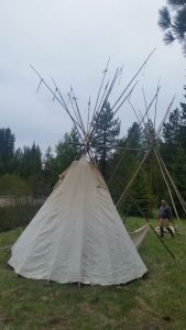 putting the tipis up