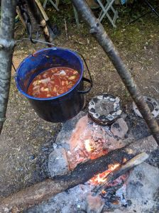 Chili hanging above the fire