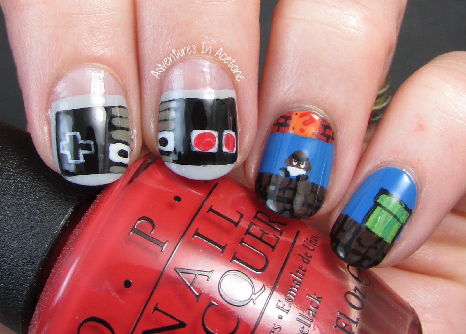 The Digit Al Dozen Does Decades Day 3 Nintendo Nail Art Adventures In Acetone
