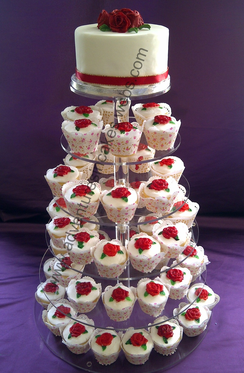Wedding Cake and Cupcakes with Red Roses