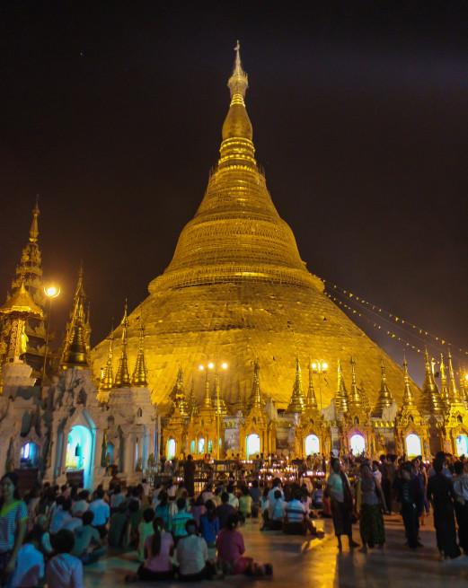 Nighttime at Shwedagon Pagoda, Myanmar