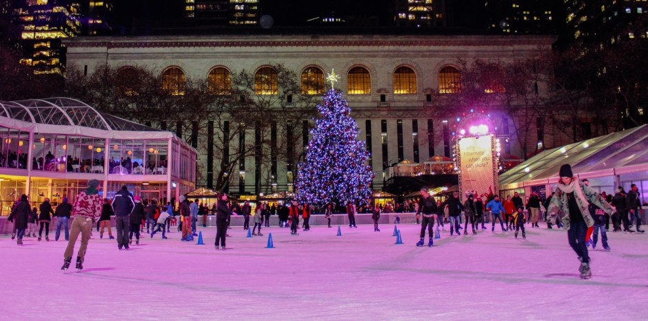 Ice skating rink, Bryant Park, Christmas, New York, NYC