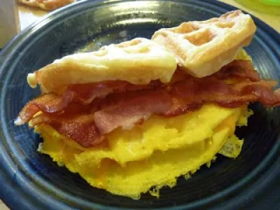 Bacon Egg and Cheese Waffle Sandwich
