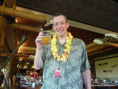 James enjoying Passion Fruit, Orange, Guava juice at 'Ohana