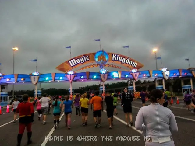 Runners approach the Magic Kingdom Parking Lot Booths