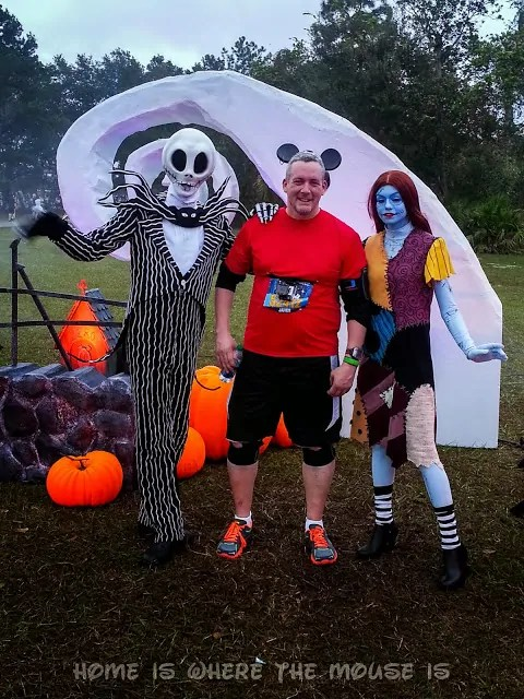 Posing with Jack Skellington and Sally from Nightmare Before Christmas