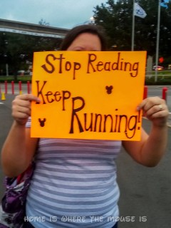 """The back of the sign read """"Stop Reading... Keep Running!"""""""