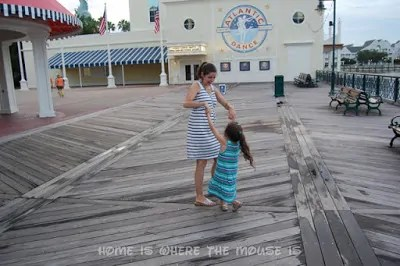 Lisa and Bella dance outside the Atlantic Dance Hall at Disney's BoardWalk