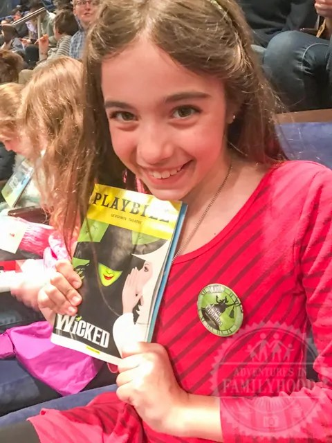 Bella seeing first Broadway Musical Wicked at Kids Night on Broadway