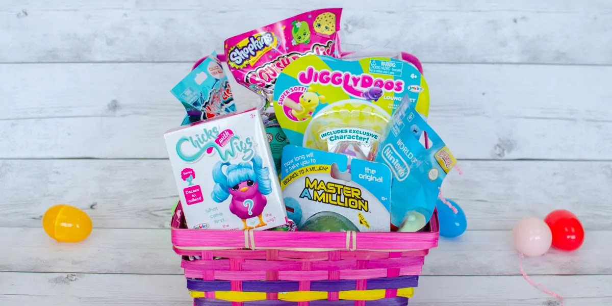 Easter basket of squishy collectible and interactive toys for boys jakks pacific toy easter basket squish dee lish master a million chicks with wigs negle Image collections