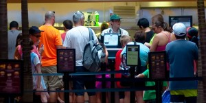 Guests on line at Walt Disney World Quick Service Restaurant