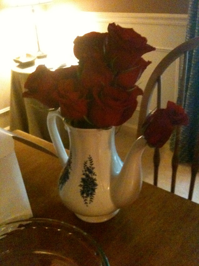 Red Roses in Teapots