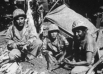 Navajo Code Talkers, Saipan. 1944. Wikipedia.