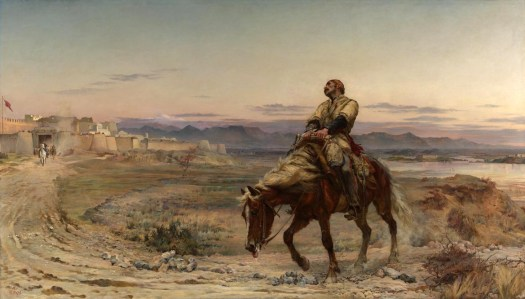 Elizabeth was superb and creating a sense of quiet melodrama. Here the remnants of an army shows the aftermath of the retreat from Kabul. Pain, exhaustion are central to this story of defeat. The dark mountains of the Northwest Frontier glower menacingly in the distance, while the sun sets the bastions of Jellalabad alight with its glow, were safety lies.