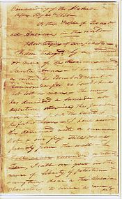 The first page of Travis' famous letter from the Alamo to the people of Texas and all Americans in the world. Little did he know his words would actually reach the world.