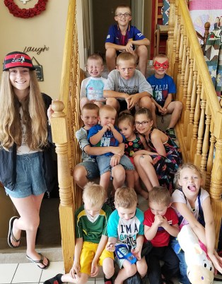 Group of grandkids on stairs