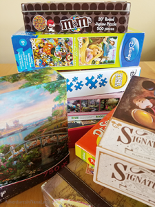 Jigsaw puzzles, stack of jigsaw puzzles