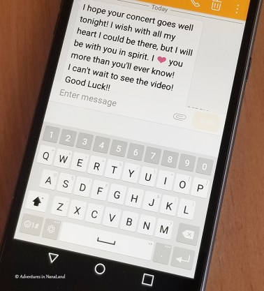 text message on cell phone, text message to grandchild, cell phone - 3 Super Simple Tips to Being a Fabulous Long Distance Grandparent - Adventures in NanaLand