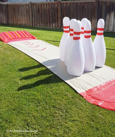 Bowling Slip-n-slide game at grandma camp