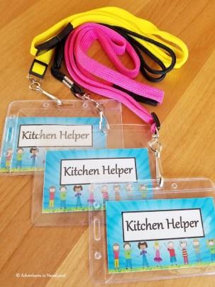 Kitchen helper badges on lanyards - Grandma Camp Tips - Adventures in NanaLand