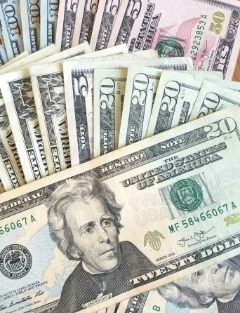 Several denomonanations of U.S. currency - traveling with grandchildren - Adventures in NanaLand