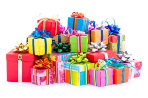 Colorful gift boxes with gows