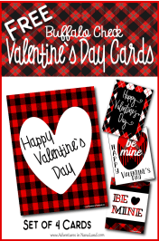 Red and black buffalo check valentine's day cards that say Happy Valentines Day and Be mine - Valentine's Day Ideas for Kids - Adventures in NanaLand