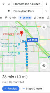 Screenshot of walking directions from Standford Inn and Suites to Disneyland - Adventures in NanaLand