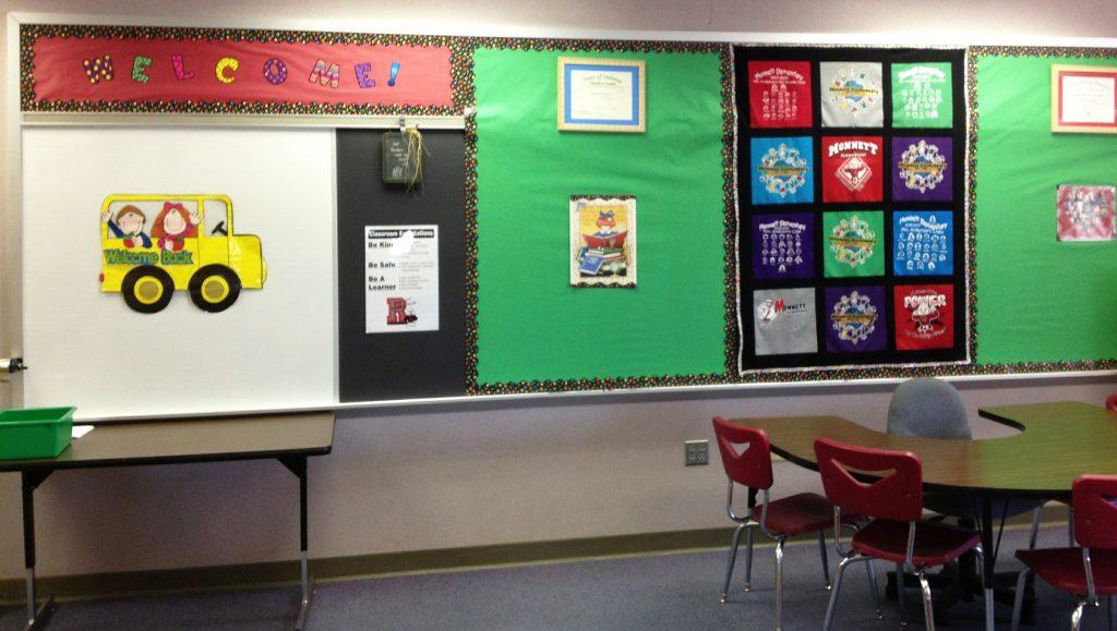Classroom with bulletin boards ready for first day of class - Grandkids go back to school - Adventures in NanaLand