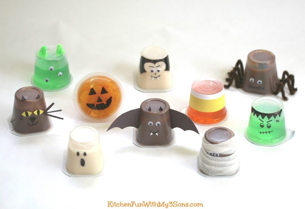 Jello cups made into Halloween creatures - Kitchen Fun with My 3 Sons