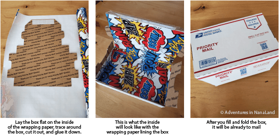 Collage of mailer box with birthday wrapping on the inside ready to mail - creative ways to give money - Adventures in NanaLand