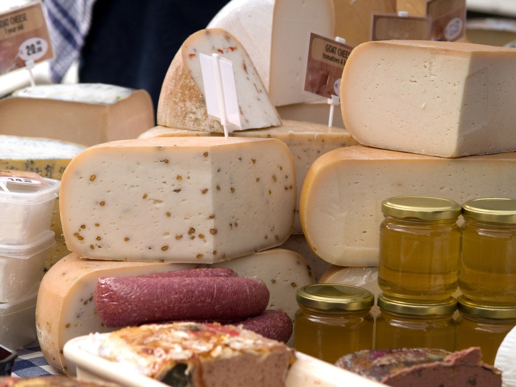 Variety of cheeses - farmers market with grandkids - Adventures in NanaLand