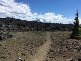 The trail disappears under lava
