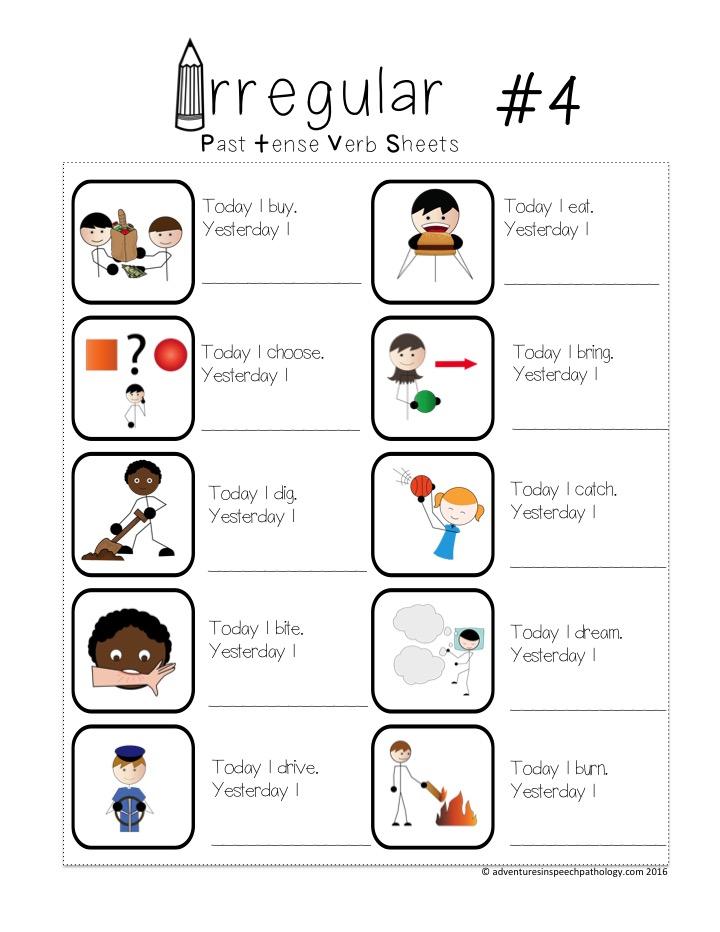 Irregular Past Tense Verb Worksheets *Freebie* - Adventures In Speech  Pathology