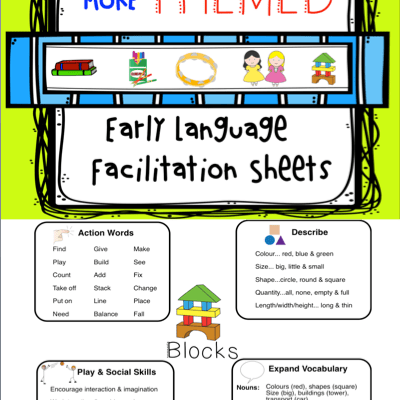 MORE! Themed Early Intervention Language Facilitation Sheets *Freebie*