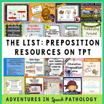 The List: Preposition Resources on TpT