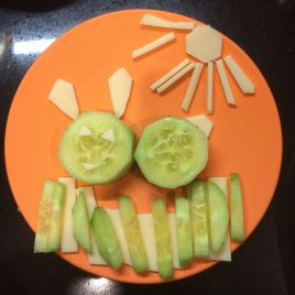 Cucumbers + cheese = little bunny in the sun