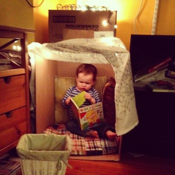 Book Nook made from cardboard boxes for baby Big Brother