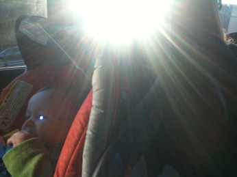 baby brother in sunlight