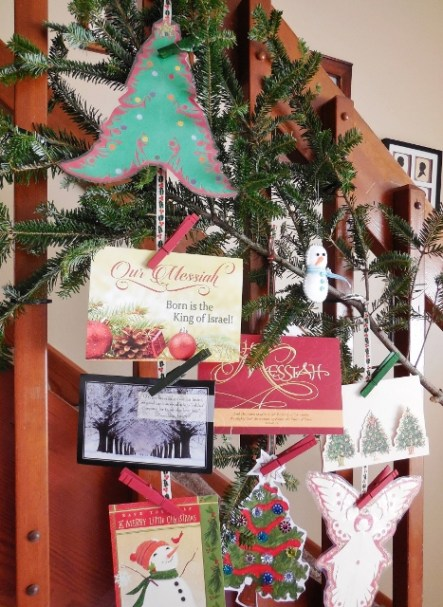 Christmas cards on bannister