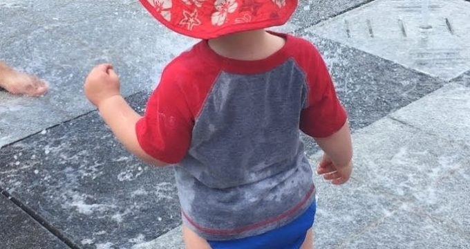 grandson in red hat