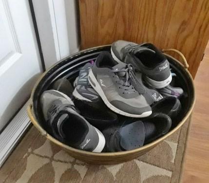 shoes in bin