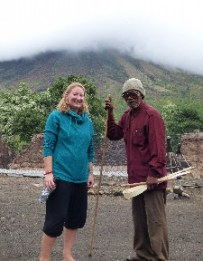 The blind guy wanted a photo with me, he was off to make a pipe with those sticks.
