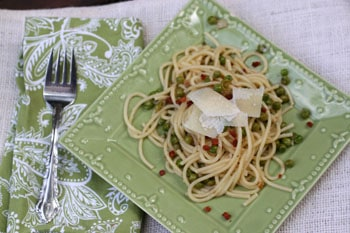 Linguine with Green Peas and Pancetta