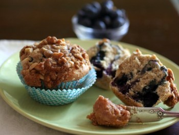 Cinnamon Sugar Blueberry Muffins with Streusel Topping & Orange Cinnamon Butter