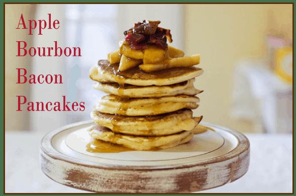 bourbon, apple, bacon pancakes