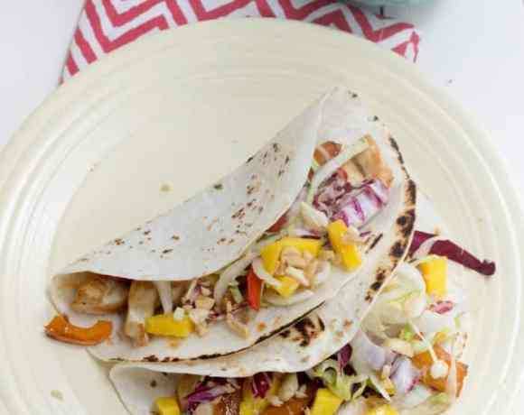 Kung Pao Chicken Taco's with Mango Lime Slaw