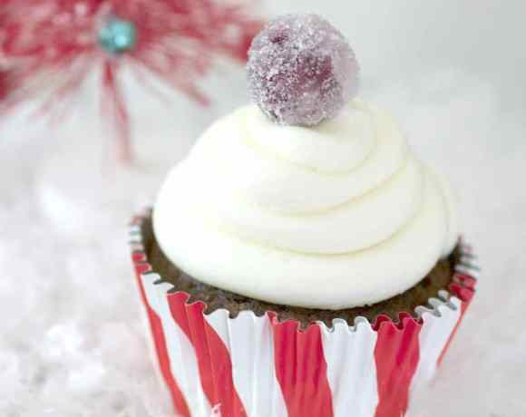 Gingerbread Cupcakes with Sugared Cranberries