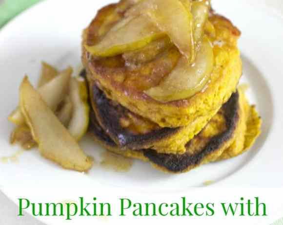 Pumpkin Pancakes with Maple Bourbon Pears